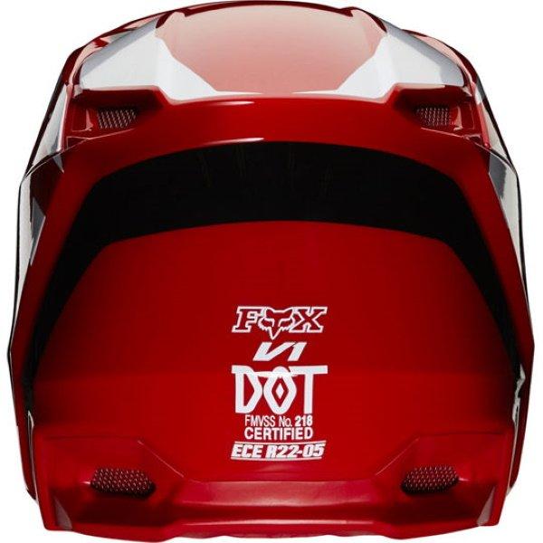 Fox V1 Prix Flame Red Motocross Helmet Back