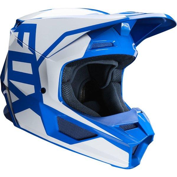 Fox V1 Prix Blue Motocross Helmet Front Right