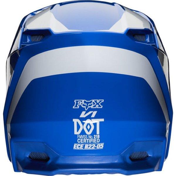Fox V1 Prix Blue Motocross Helmet Back