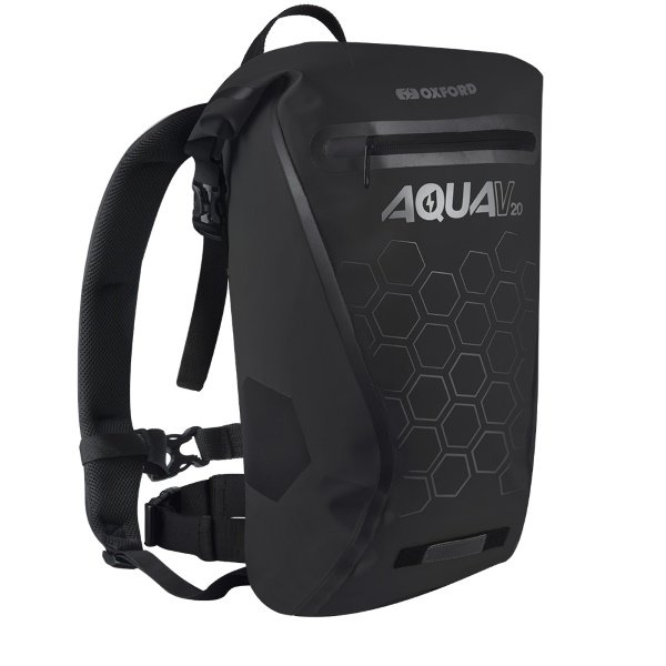 Oxford Products Aqua V 20 Black Motorcycle Backpack Straps