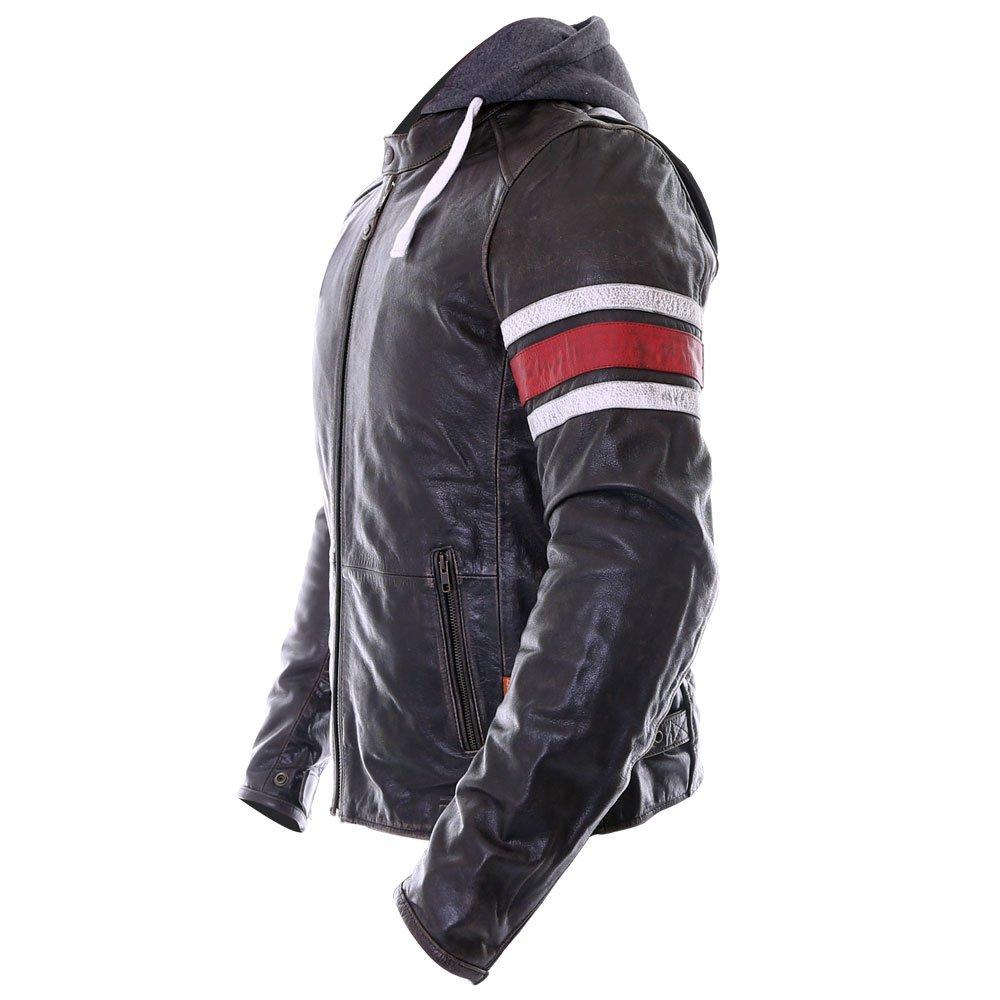 Richa Toulon Vintage Black Red Leather Motorcycle Jacket Back