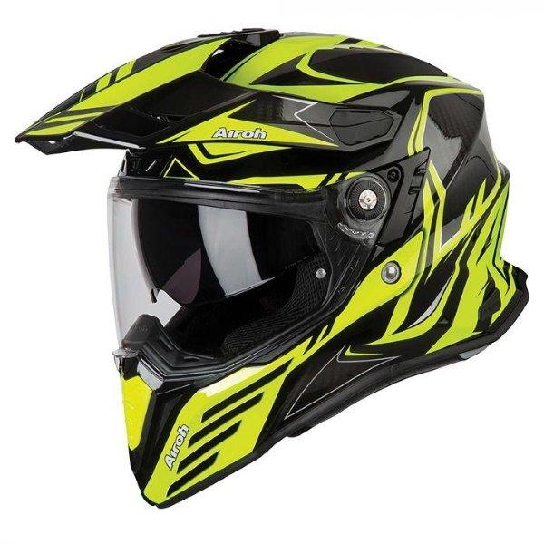 Airoh Commander Carbon Yellow Adventure Motorcycle Helmet Front Left