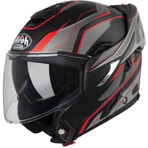 Airoh REV19 Flip Revolution Matt Black Red Flip Front Motorcycle Helmet Open