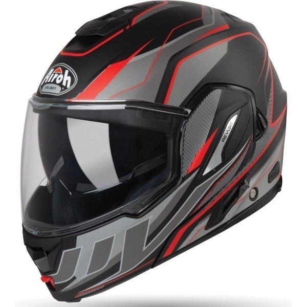 Airoh REV19 Flip Revolution Matt Black Red Flip Front Motorcycle Helmet Front Left