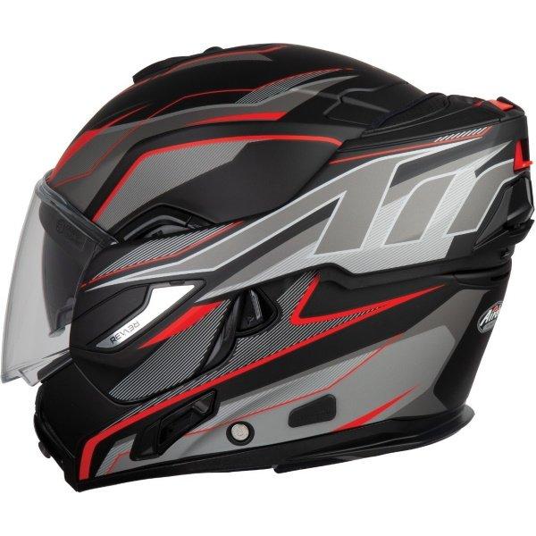 Airoh REV19 Flip Revolution Matt Black Red Flip Front Motorcycle Helmet Left Side