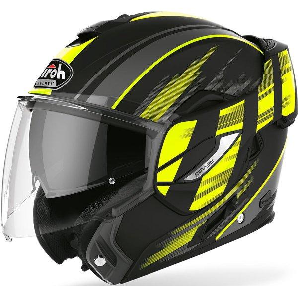 Airoh REV19 Flip Ikon Yellow Matt Flip Front Motorcycle Helmet Open