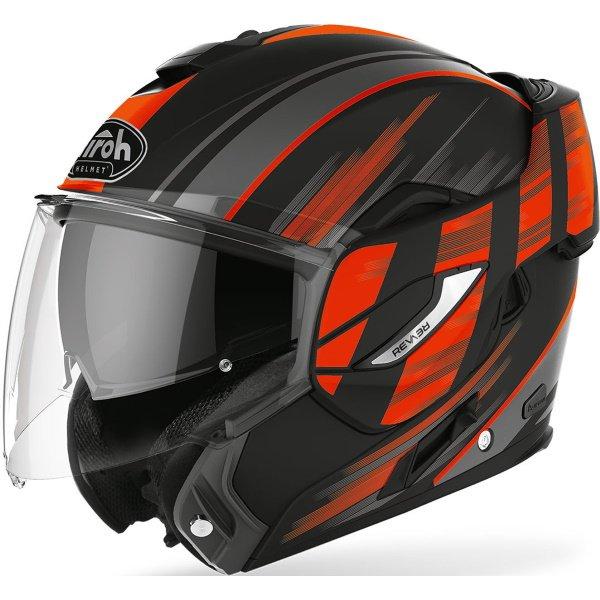 Airoh REV19 Flip Ikon Orange Matt Flip Front Motorcycle Helmet Open