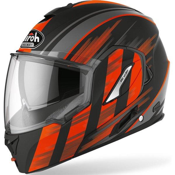 Airoh REV19 Flip Ikon Orange Matt Flip Front Motorcycle Helmet Front Left