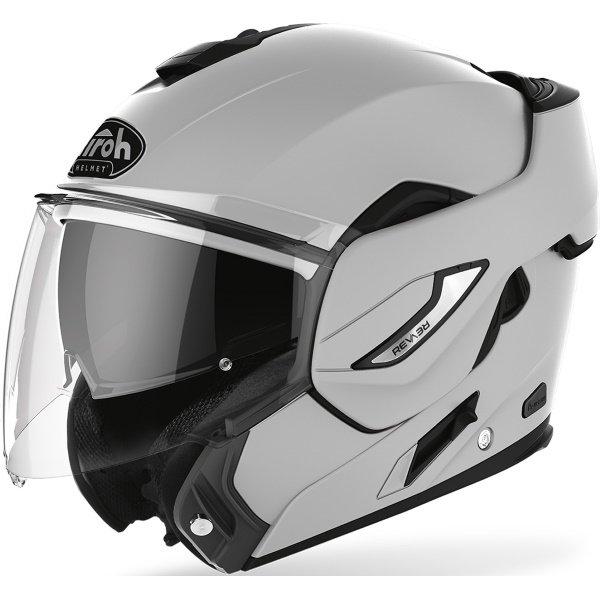 Airoh REV19 Flip Grey Matt Black Flip Front Motorcycle Helmet Front Left Open