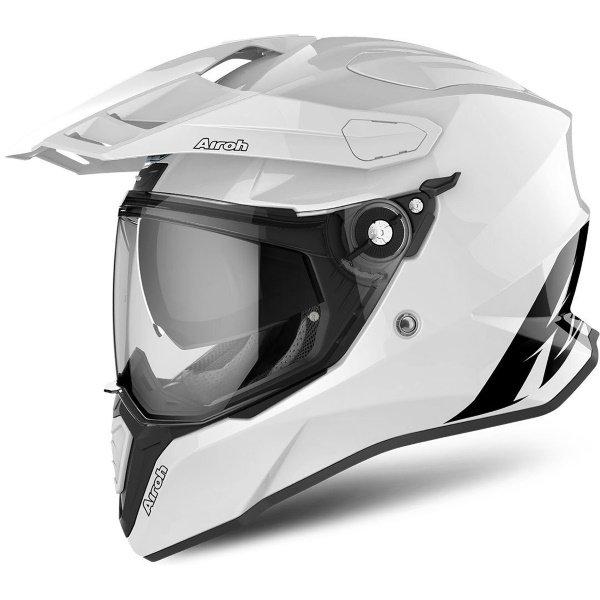 Airoh Commander White Adventure Motorcycle Helmet Front Left