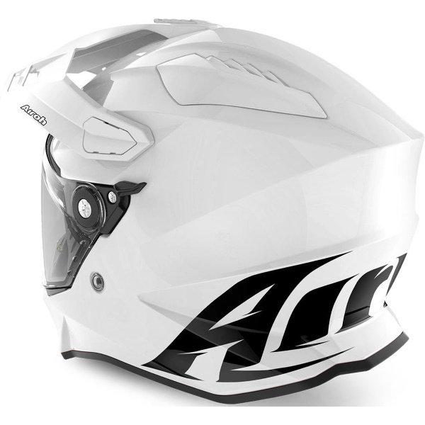Airoh Commander White Adventure Motorcycle Helmet Back Left