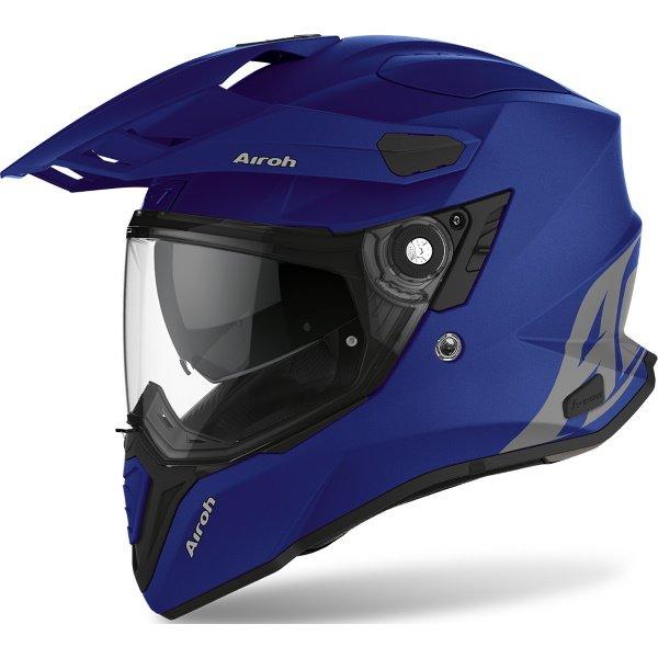 Airoh Commander Matt Blue Adventure Motorcycle Helmet Front Left