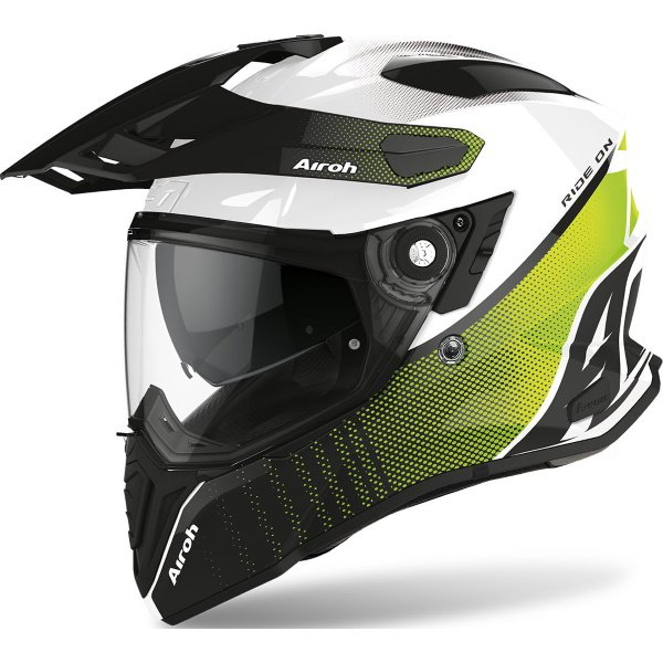 Airoh Commander Progress Lime Adventure Motorcycle Helmet Front Left
