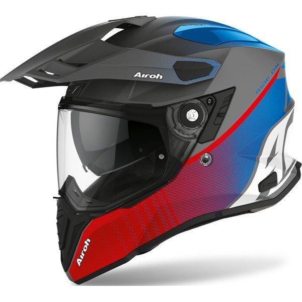Commander ADV Helmet Progress Red Blue Matt Airoh Helmets