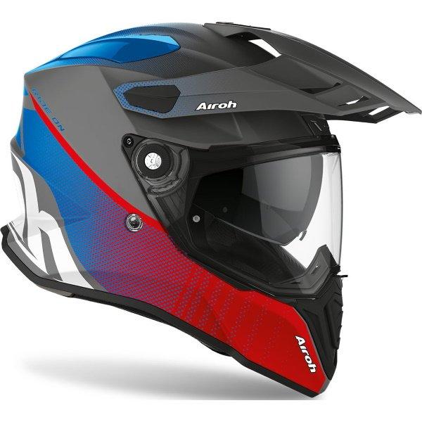 Airoh Commander Progress Red Blue Adventure Motorcycle Helmet Front Right