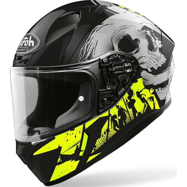 Airoh Valor Akuna Yellow Gloss Full Face Motorcycle Helmet Front Left