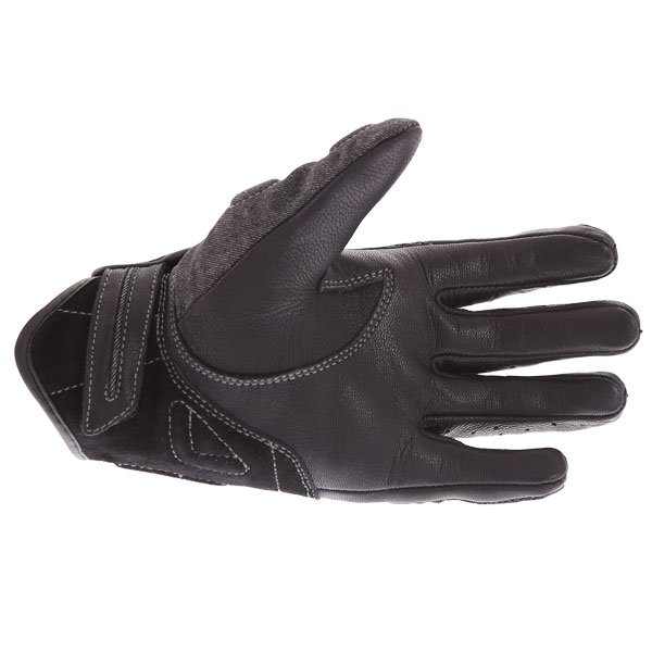 BKS Denim Black Motorcycle Gloves Palm