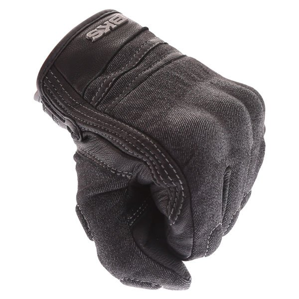BKS Denim Black Motorcycle Gloves Knuckle