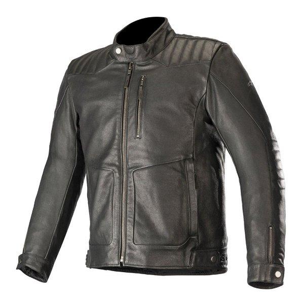 Alpinestars Crazy Eight LT Black Leather Motorcycle Jacket Front
