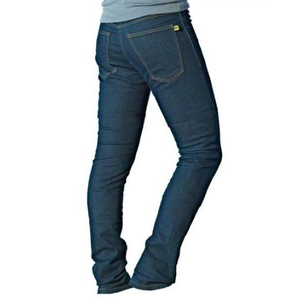 Draggin Jeans Twista Straight Blue Denim Motorcycle Jeans Rear