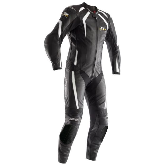 IOM TT Grandstand CE Suit Black White Leather Suits