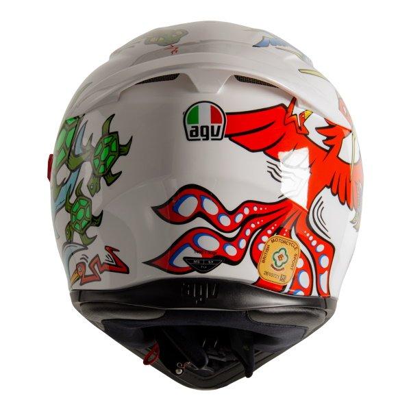 AGV K3 SV-S White Zoo Full Face Motorcycle Helmet Back