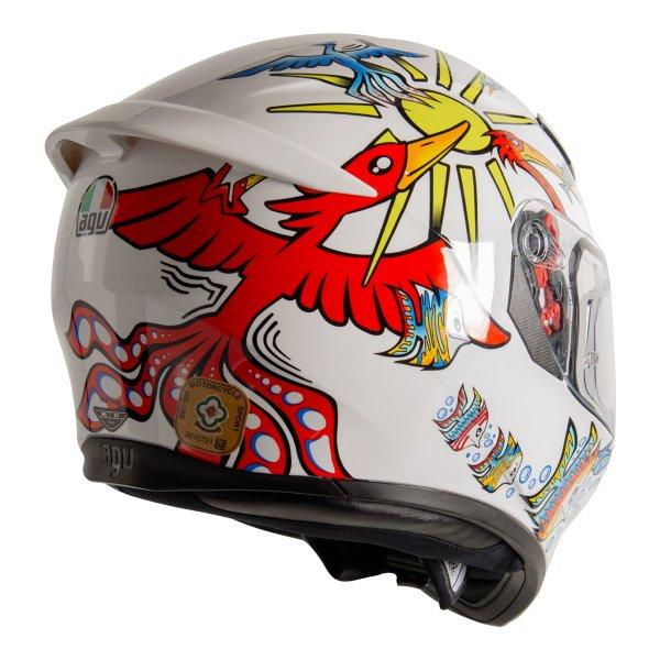 AGV K3 SV-S White Zoo Full Face Motorcycle Helmet Back Right