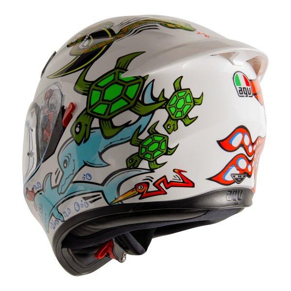 AGV K3 SV-S White Zoo Full Face Motorcycle Helmet Back Left