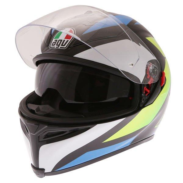 AGV K5-S Core Black Cyan Yellow Fluo Full Face Motorcycle Helmet Open With Sun Visor