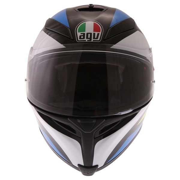AGV K5-S Core Black Cyan Yellow Fluo Full Face Motorcycle Helmet Front