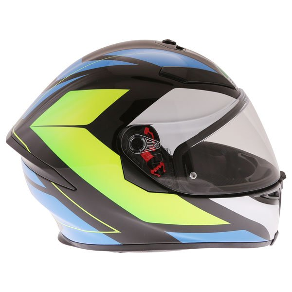 AGV K5-S Core Black Cyan Yellow Fluo Full Face Motorcycle Helmet Right Side