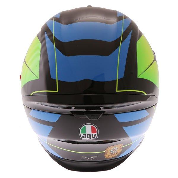 AGV K5-S Core Black Cyan Yellow Fluo Full Face Motorcycle Helmet Back