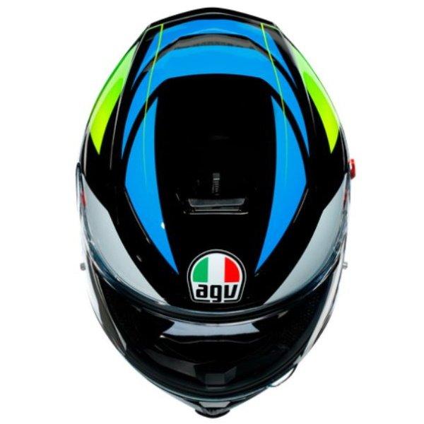 AGV K5-S Core Black Cyan Yellow Fluo Full Face Motorcycle Helmet Top