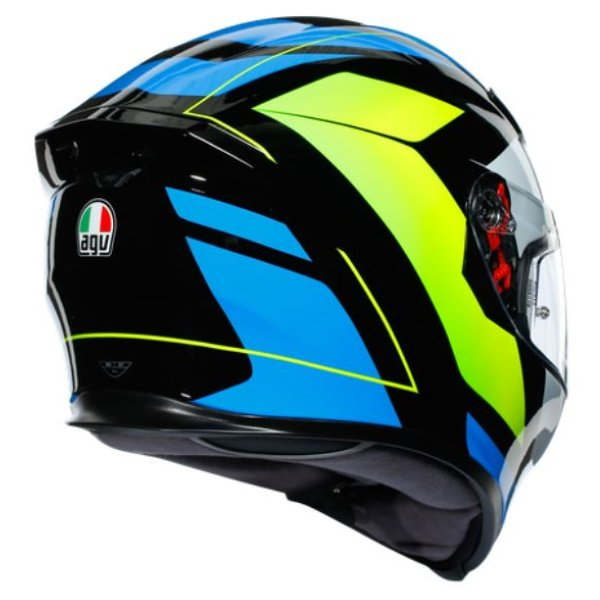 AGV K5-S Core Black Cyan Yellow Fluo Full Face Motorcycle Helmet Back Right