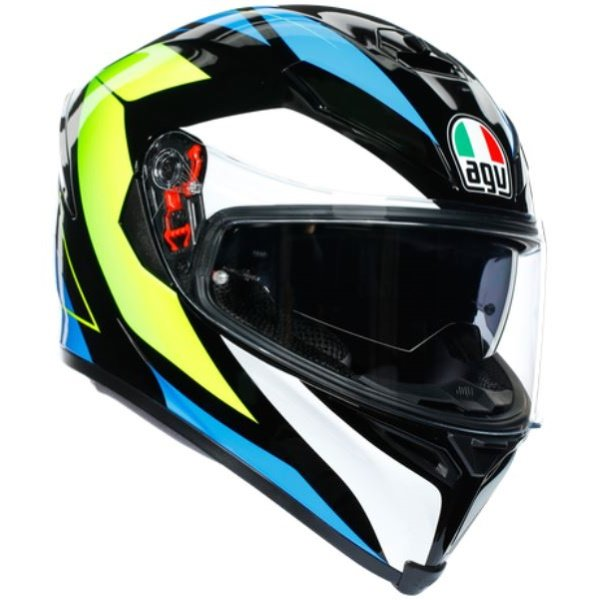 AGV K5-S Core Black Cyan Yellow Fluo Full Face Motorcycle Helmet Front Right