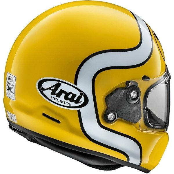 Arai Rapide HA Yellow Full Face Motorcycle Helmet Back Right