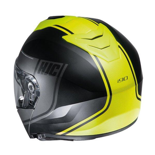 HJC I90 Davan Black Yellow Flip Front Motorcycle Helmet Back Right