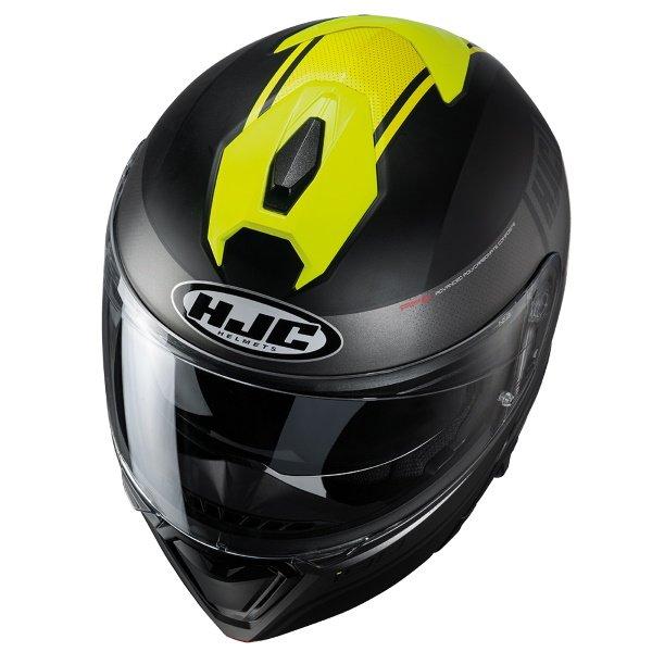 HJC I90 Davan Black Yellow Flip Front Motorcycle Helmet Top
