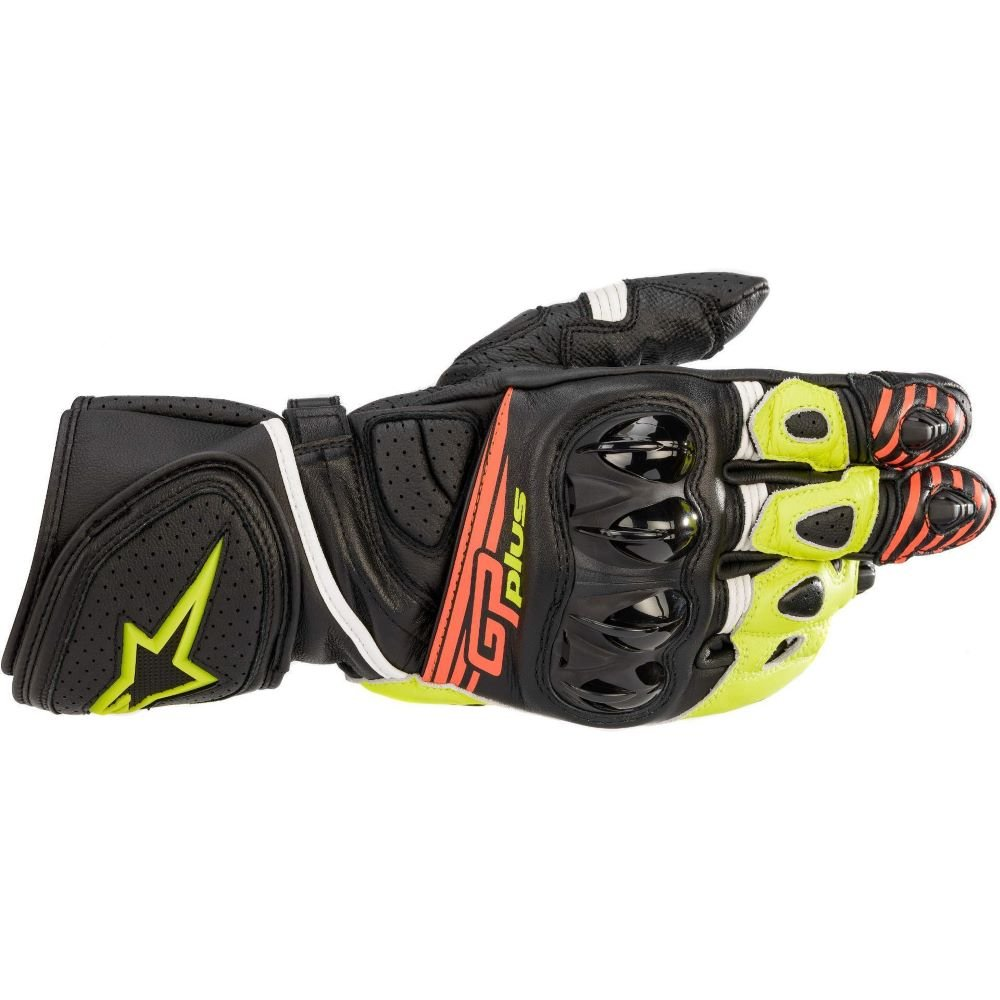 Alpinestars GP Plus R V2 Gloves Black Yellow Fluo Red Fluo Size: Mens UK - S
