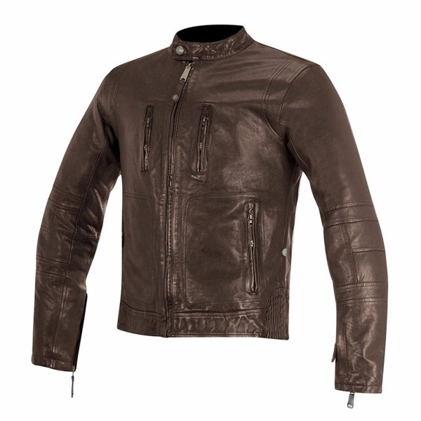 Alpinestars Oscar Brass Brown Leather Motorcycle Jacket Front