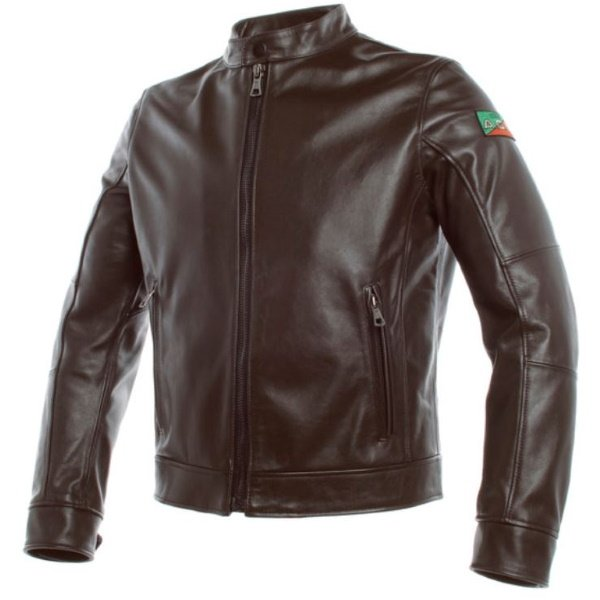 Dainese AGV 1947 Brown Leather Motorcycle Jacket Front
