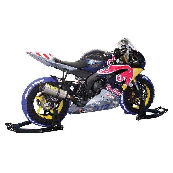 BikeTek Aluminium Black Front Box Motorcycle Stand In Use