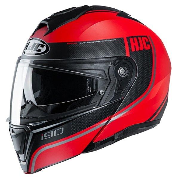 HJC I90 Davan Red Flip Front Motorcycle Helmet Front Left