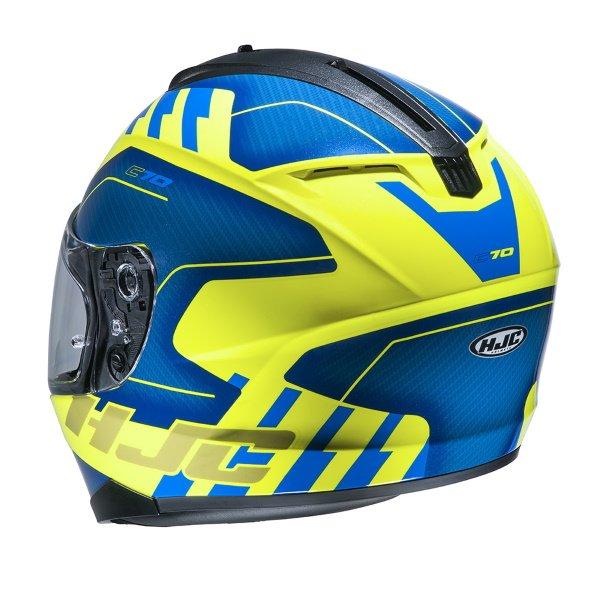 HJC C70 Koro Yellow Full Face Motorcycle Helmet Back Left
