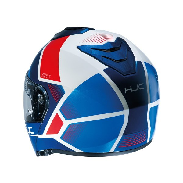 HJC I90 Hollen Red White Blue Flip Front Motorcycle Helmet Back Right