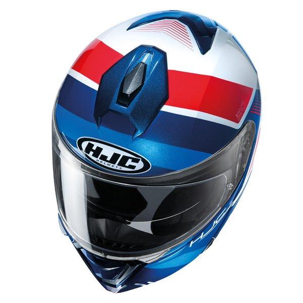 HJC I90 Hollen Red White Blue Flip Front Motorcycle Helmet Top