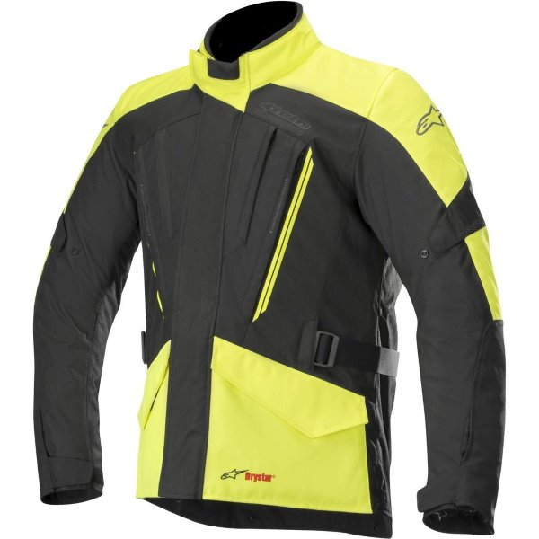 Alpinestars Volcano Drystar Black Fluo Yellow Textile Motorcycle Jacket Front