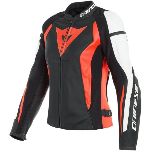 Dainese Nexus Lady Womens Black Fluo Red White Textile Motorcycle Jacket Front