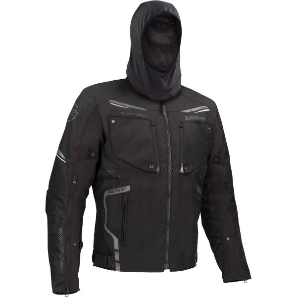 Bering Zodd Black Textile Motorcycle Jacket Hood Up