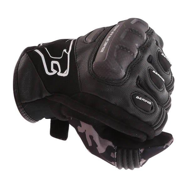 Bering Derreck Black Camo Motorcycle Gloves Knuckle